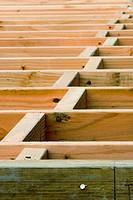 Floor joists extending from rim joist into distance, with wood blocking in between joists.