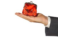 Close-up of a businessman holding a change purse