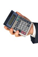 Close-up of a businessman holding a calculator (thumbnail)