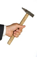 Close-up of a businessman holding a hammer