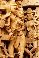 Carved stone statues in a temple, Jaisalmer, Rajasthan, India