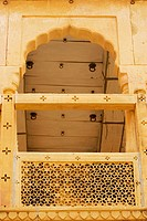 Low angle view of a balcony in the Rajmahal, Jaisalmer, Rajasthan, India
