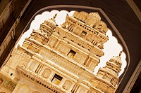 Facade of a temple seen through an arch, Pushkar, Rajasthan, India