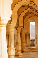 Pillared corridors in a fort, Diwan-e-Khas, Amber Fort, Jaipur, Rajasthan, India