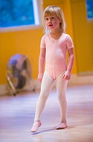 4 year old Caucasian girl at dance class