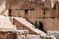 Visitors at the Roman Temple Ruins in Baalbek, Lebanon