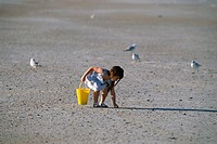 Child picking up pebbles on beach