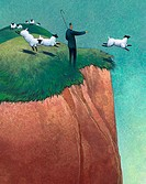 Businessman Leading Sheep Over Cliff