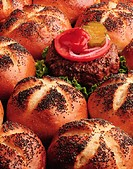 Hamburger and seeded rolls