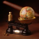 Globe on brass scale