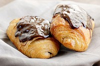 Croissants with chocolate served for breakfast in a plate