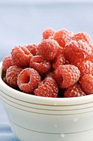 Organic raspberries ready to be served