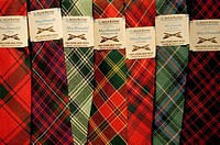 Ties made with the different tartans of local clans, Isle of Skye, Scotland, UK