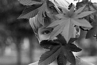 Child looking through a bunch of leaves