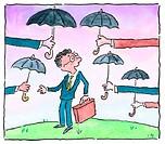 Man Being Offered Umbrellas