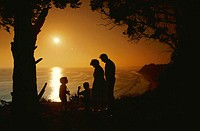 Silhouette of Family at Beach