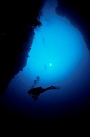 Diver in Underwater Crevice