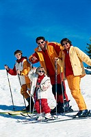 Family with ski pole