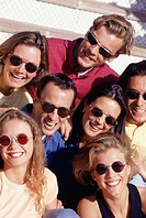 Group of people wearing sunglasses, portrait