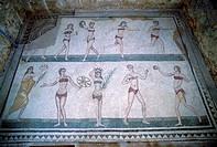 europe, italy, sicily, armerina square, villa romana del casale, ten girls mosaic