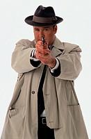 Detective Aiming a Gun