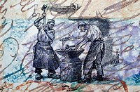 Blacksmiths Hammering on Anvil