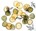 lemons, cucumbers, dill