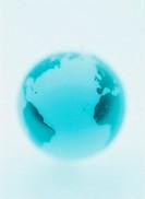 Globe showing Atlantic Ocean (soft focus, blue tone)