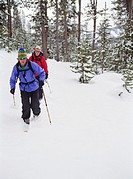 Couple Backcountry Cross Country Skiing