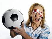 Football fan with Croatian flag painted on face
