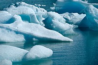 Icebrocks in the ´Lago de los Tempanos´ (Iceberg sea) by the Perito Moreno Glacier. Patagonia, Argentina