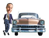 a caucasian used car salesman leans on an old used car and smiles cheesily at the camera