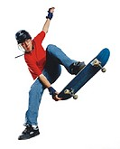 a teenage caucasian male skateboarder in a red shirt and blue jeans jumps into the air while holding onto his board and wearing a helmet