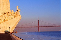 Monument to the Discoveries and April 25 Bridge, Lisbon. Portugal