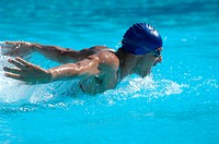 Male Swimmer Swimming Butterfly