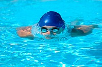 Male Swimmer Gliding Underwater