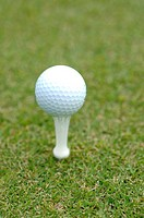 Close up of a golf ball placed on the golf tee