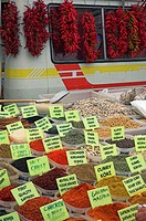 Fresh spices for sale at market. Fethiye, Turkey