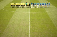 Football teams on pitch