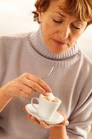 ELDERLY PERSON WITH HOT DRINK<BR>Model.