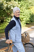 Senior woman with a bicycle