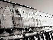 The engine of a decaying train is captured in black & white in Albany, New York. USA