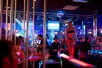 Germany, Hamburg, St. Pauli. The Dollhouse strip club on Grosse Freiheit, side road to Reeperbahn, The red light district with many night clubs and ba...