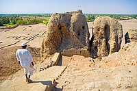 The early Nubian city of Kerma after excavation by the swiss team of prof. Charles Bonnet of the University of Geneva: great mudbrick monument marking...