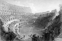 Interior of the Coliseum Rome Italy. Engraved by E. Roberts