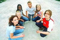 Group of Teenagers Sitting in Semi Circle