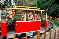 Family sitting in in a toy train