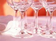 Close Up of Stemmed Wine Glasses