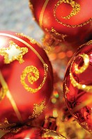 Close-up of three Christmas balls