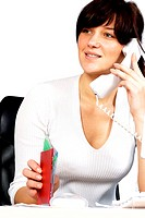 Close-up of a businesswoman talking on the telephone